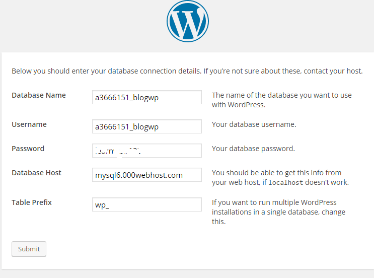 Database Info WordPress