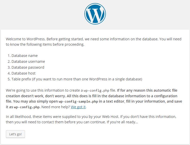 Lets go page WordPress Installation