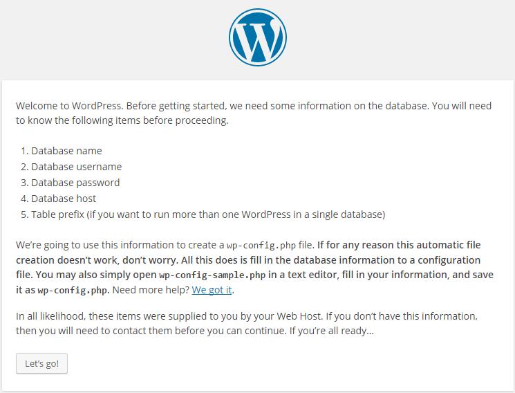 Lets go page WordPress Installation