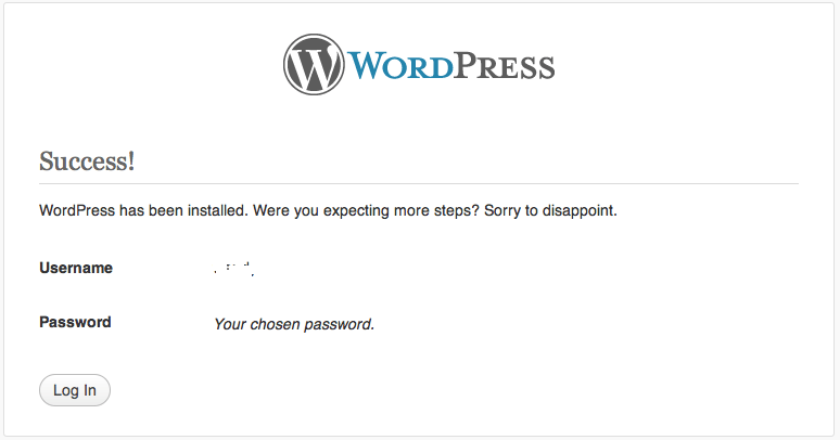 WordPress Install Success