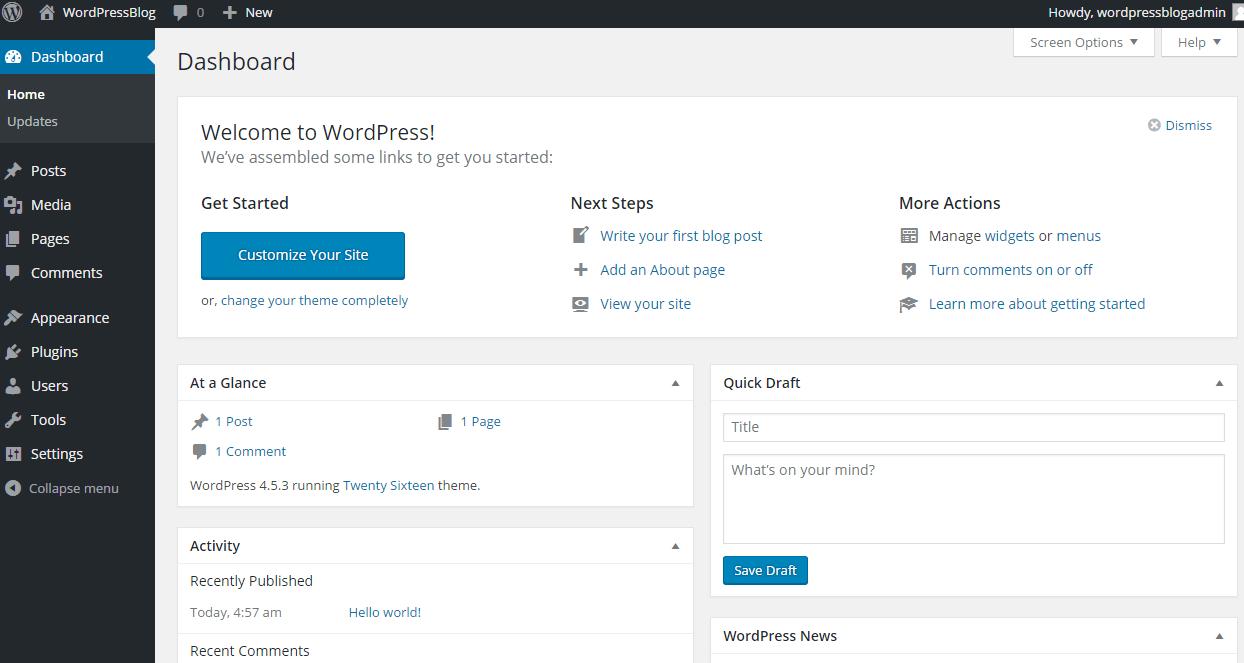 blog main screen WordPress