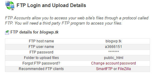 ftp details
