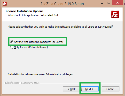 select all user filezilla