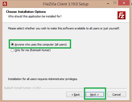 select all user filezilla