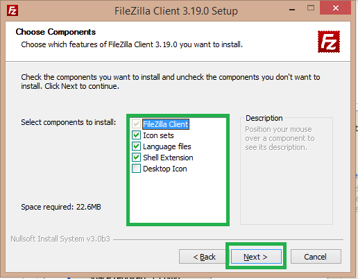 select components of filezilla