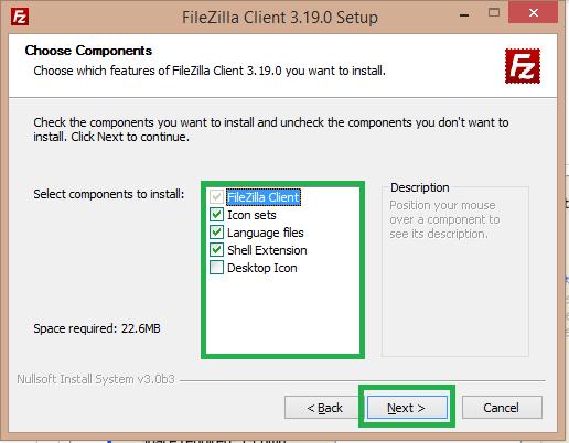 select components of filezilla