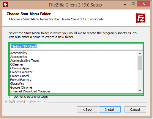 select menu ftp client