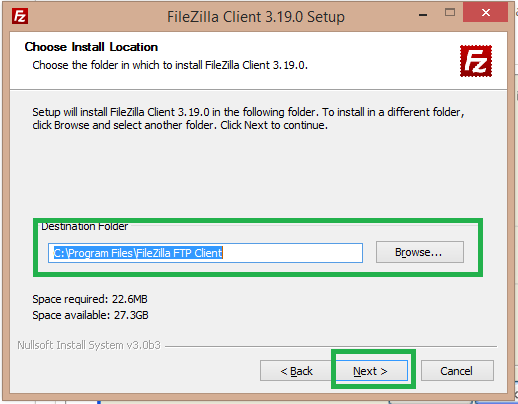 select the destination folder for filezilla