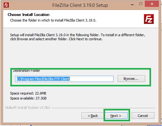 select the destination folder for filezilla