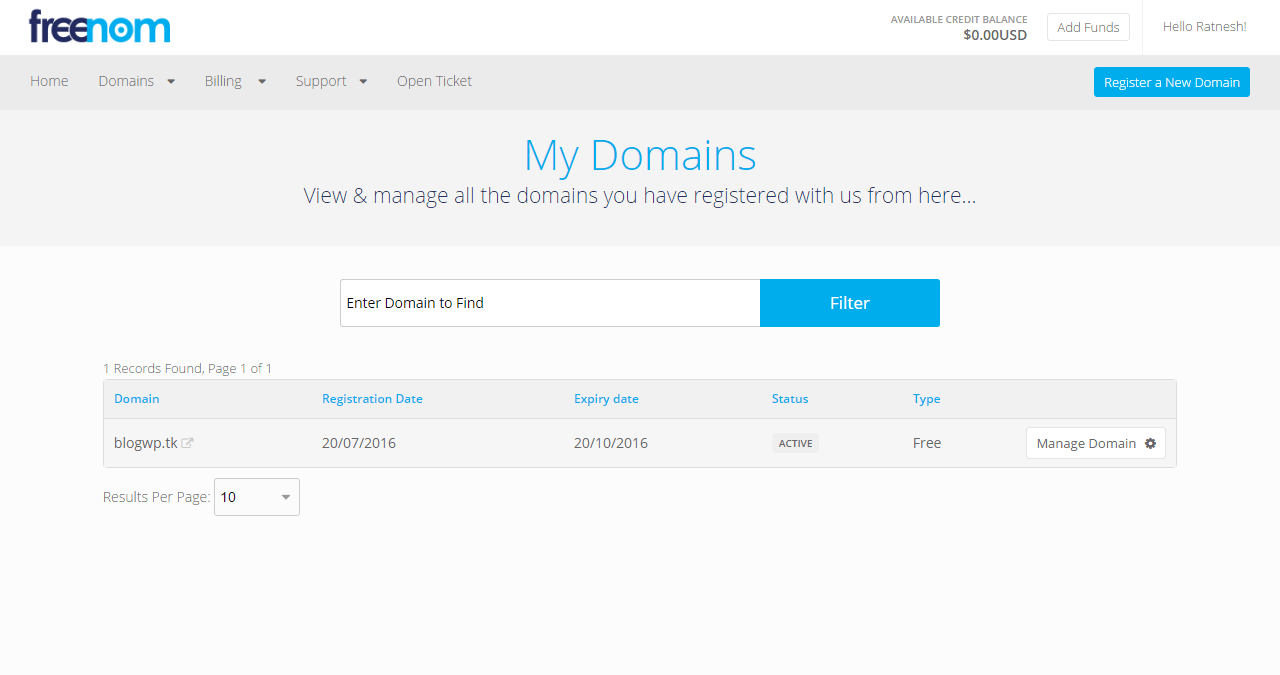 view your domain