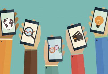 Flat design concept mobile apps phones
