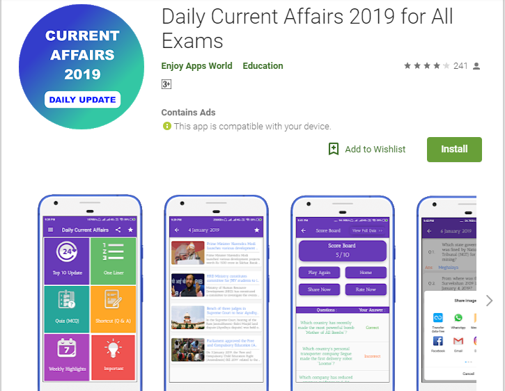 Current Affairs Apps-All in One Current Affairs & GK in Hindi 2019
