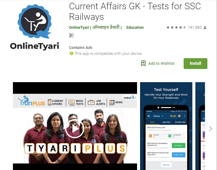 Current Affairs Apps-Current Affairs GK - Tests for SSC Railways