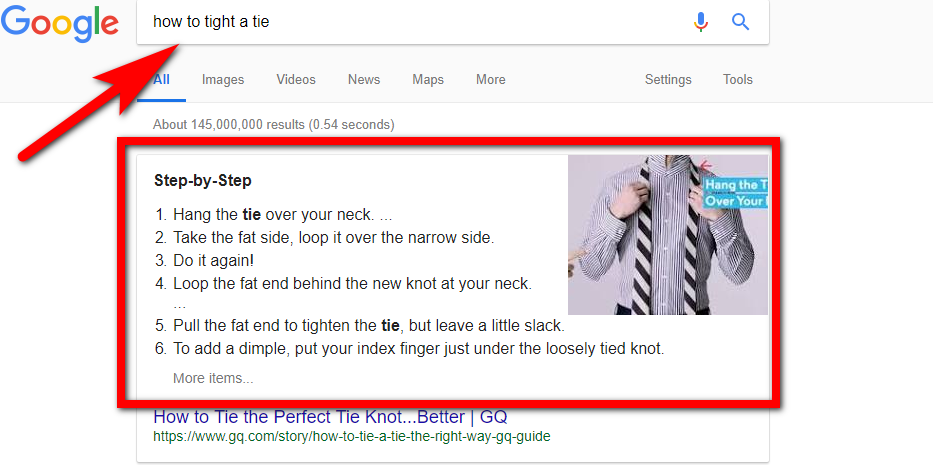 The numbered featured snippets