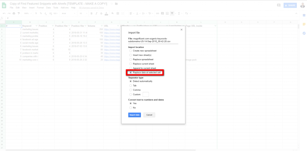 Import your CSV file first