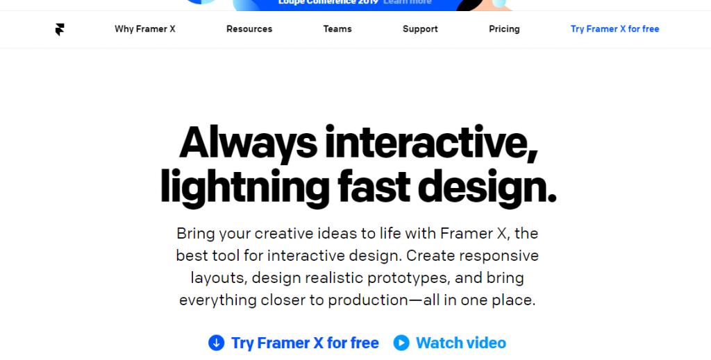 Framer-Mobile App UI Design Tools