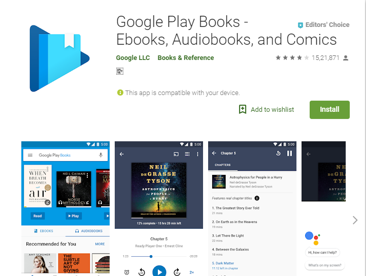 Google Playbooks-Audiobook App Player for Android