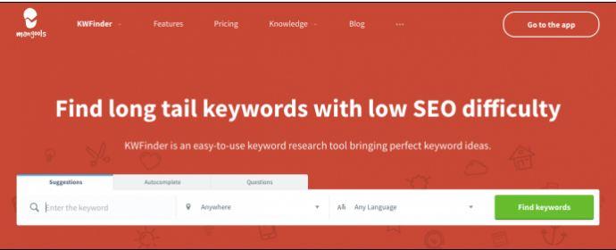 KWFinder-Content Marketing Tools