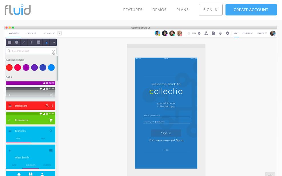 fluidui-Mobile App UI Design Tools