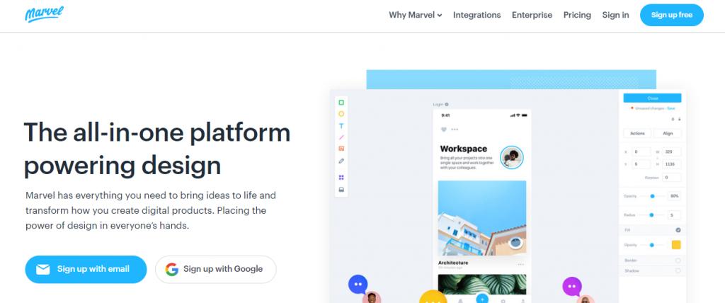 marvel App-Mobile App UI Design Tools