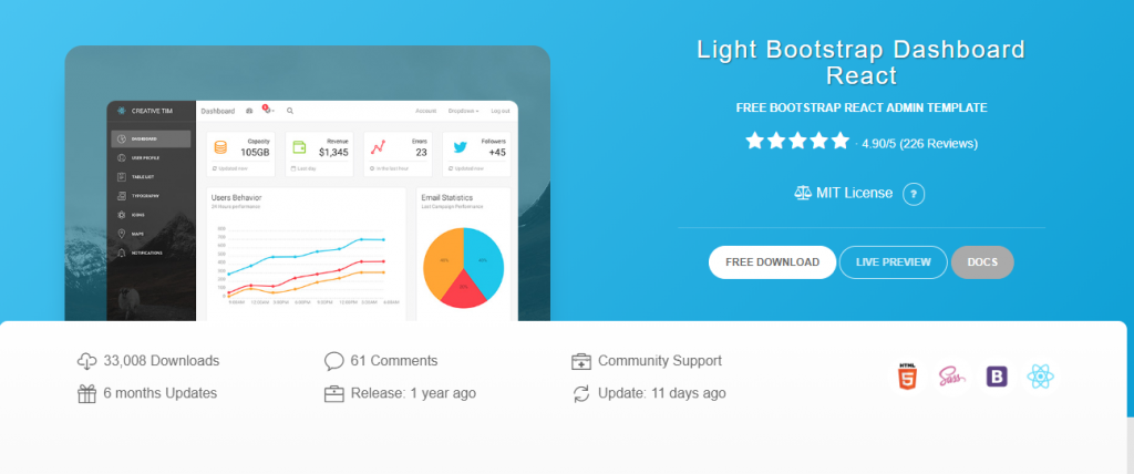Light Bootstrap Dashboard React-Free React Templates