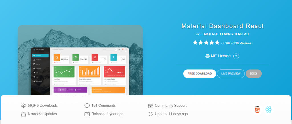 Material React Dashboard-Free React Templates