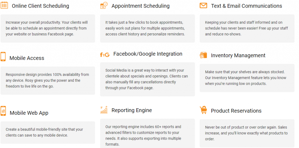 Rosy-Appointment Scheduling Software for Salons Features