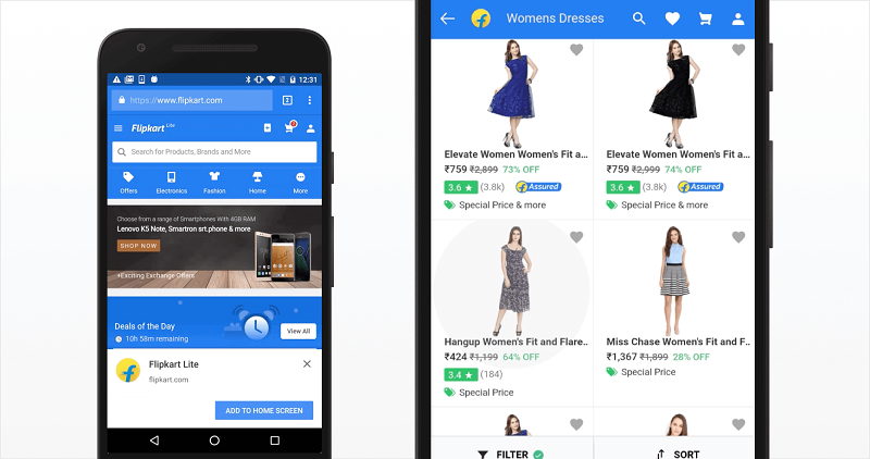 Examples of Progressive Web Apps-Flipkart