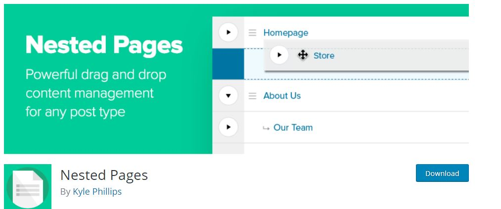 Nested Pages-Must have WordPress Web Design Plugins For Beginners