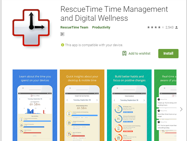 Rescue Time - Time Management and Digital Wellness