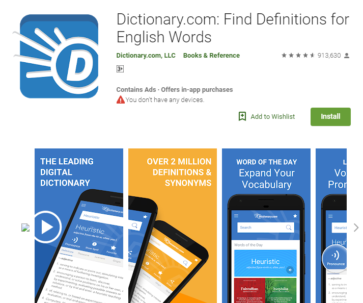 Best Apps for bank exam preparations-Dictionary.com: Find Definitions for English Words