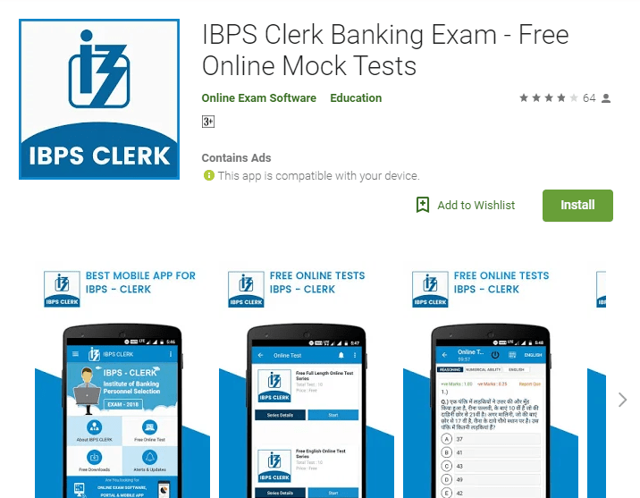 IBPS Clerk Banking Exam - Free Online Mock Tests