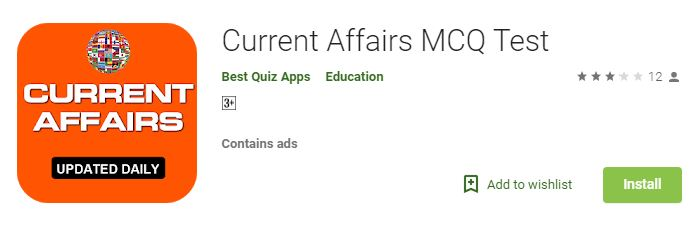 Current Affairs MCQ TEST-Best Current Affairs apps