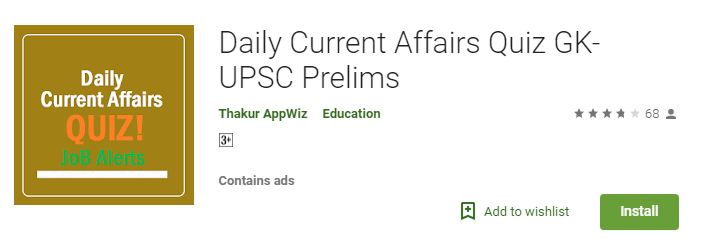 Daily Current Affairs Quiz GK UPSC Prelims-Best Current Affairs apps