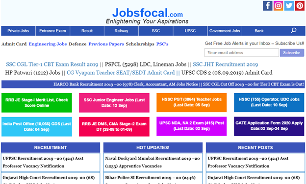 Best Free Site For Latest Government Jobs Notifications in India-Jobsfocal