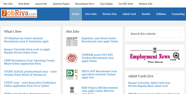 Best Free Site For Latest Government Jobs Notifications in India-Jobriya