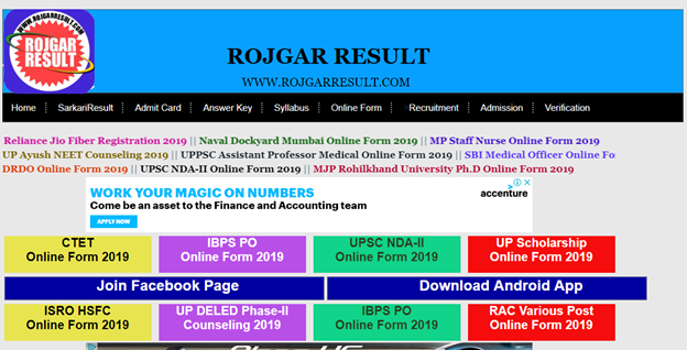 Best Free Site For Latest Government Jobs Notifications in India-Rojgar Result