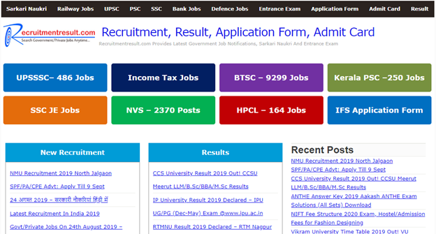 Best Free Site For Latest Government Jobs Notifications in India-Recruitment Result
