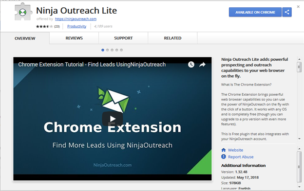 Best SEO Chrome Extensions for Digital Marketer and SEO-Ninja Outreach Lite extension