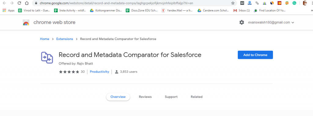 salesforce google chrome extensions-Record and Metadata Comparator