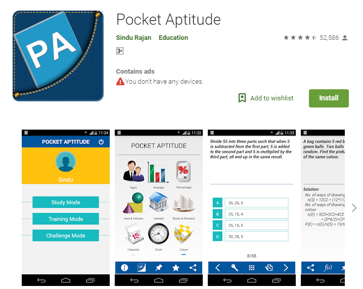 Best Apps for bank exam preparations-Pocket Aptitude