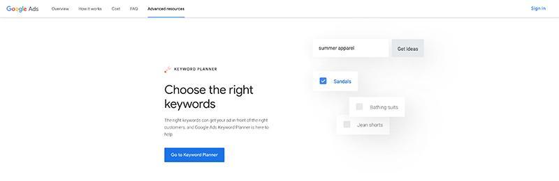 Google Keyword Planner-Free SEO Tools for Keywords Research