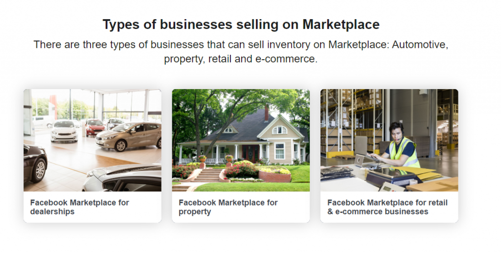 Facebook Marketplace business type