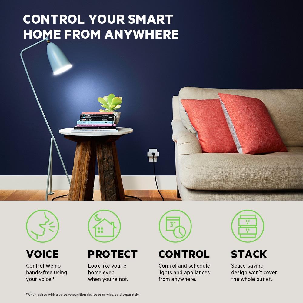 Wemo Mini Smart Plug; lifestyle image; info graphic,