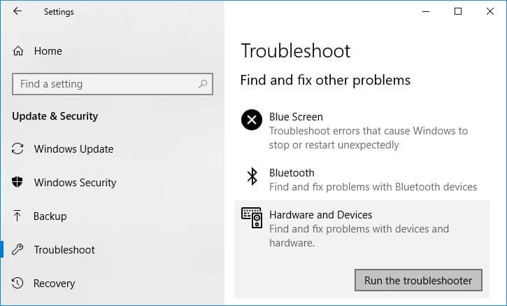 Try Windows Troubleshooter