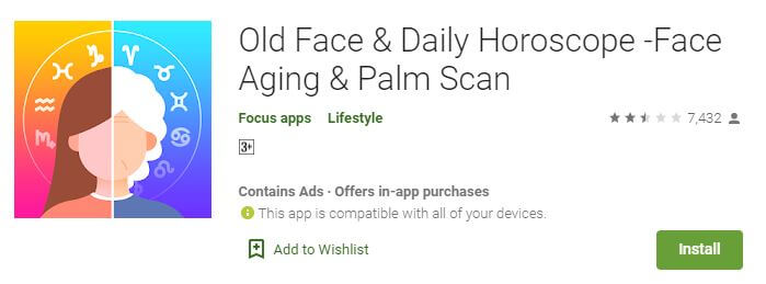Old Face & Daily Horoscope -Face Aging & Palm Scan
