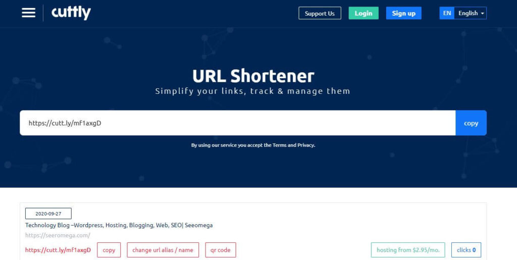 cuttly url shortner