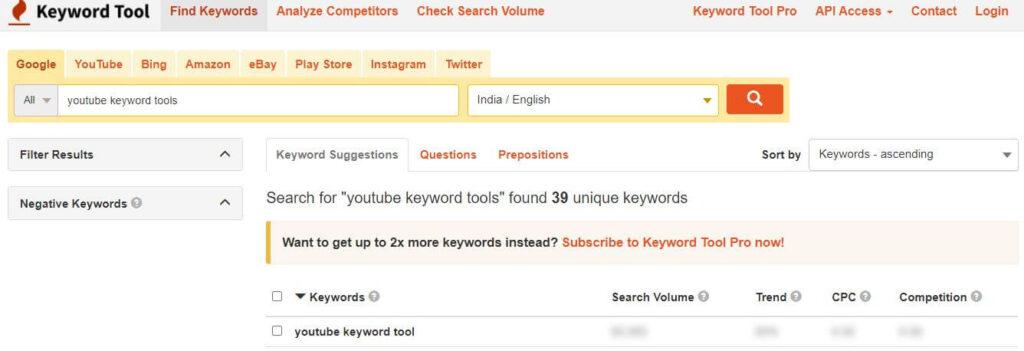 Keywordtool.io-best keyword research tool for YouTube