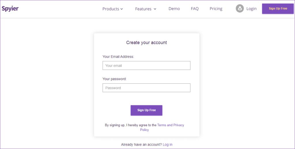create a account