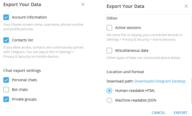 export your data all type